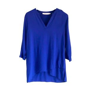 Contemporaine Asymmetrical Blue 3/4 Sleeve Blouse
